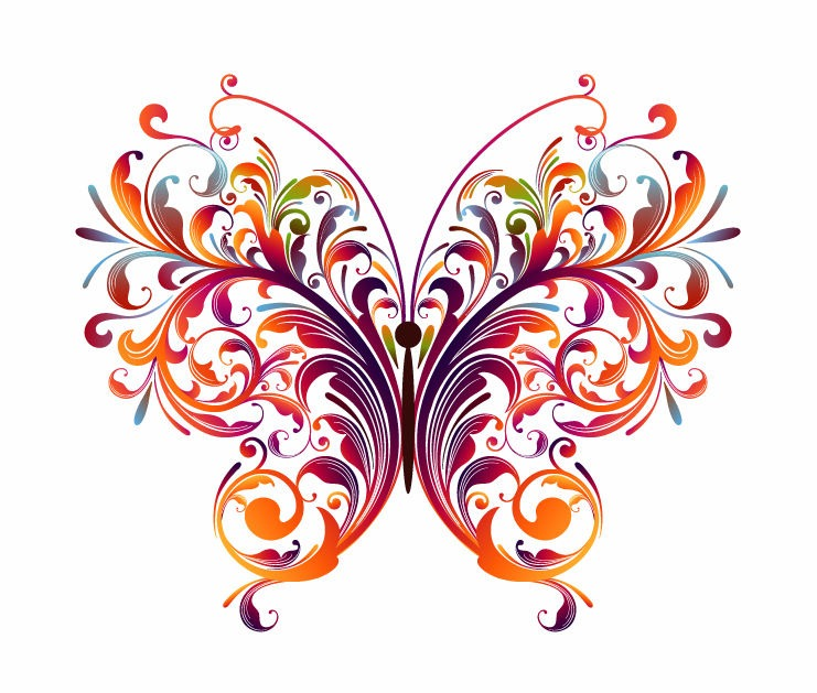 Abstract Floral Butterfly Vector Graphic | Free Vector Graphics | All ...
