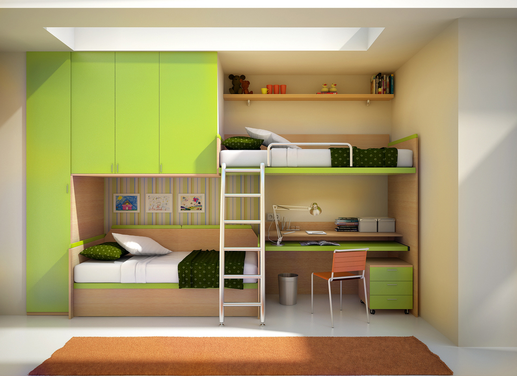The ultimate built-in for any kids room, this wall unit features off ...