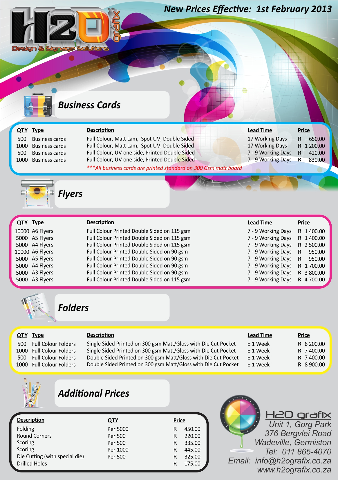 price lists designs