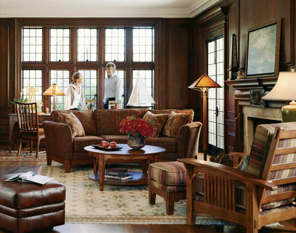 Traditional style interior design has classic lines, furniture ...