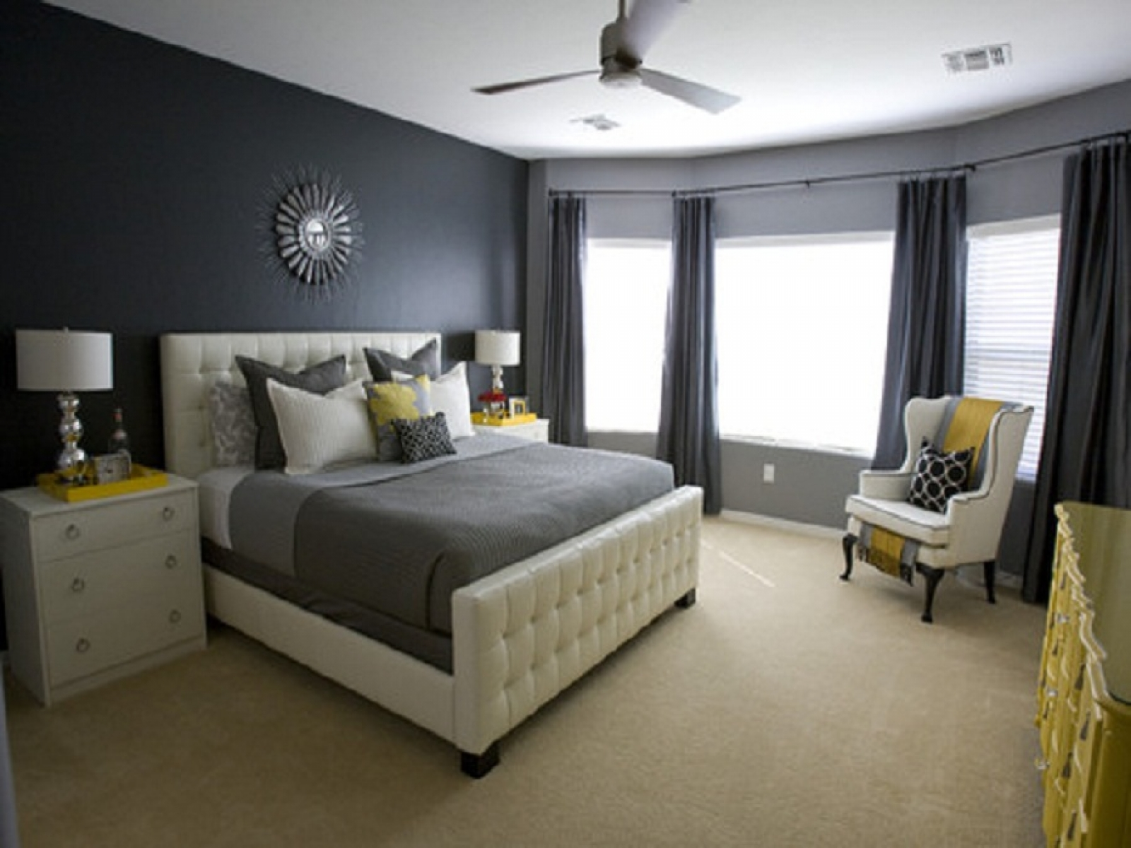 Ideas, Dark Grey Wall Color Of Modern Small Home Bedroom Design Ideas ...