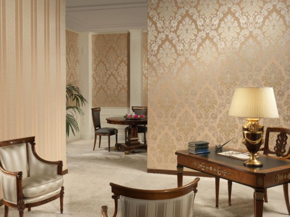 gold color wallpaper in living room : OLPOS Design