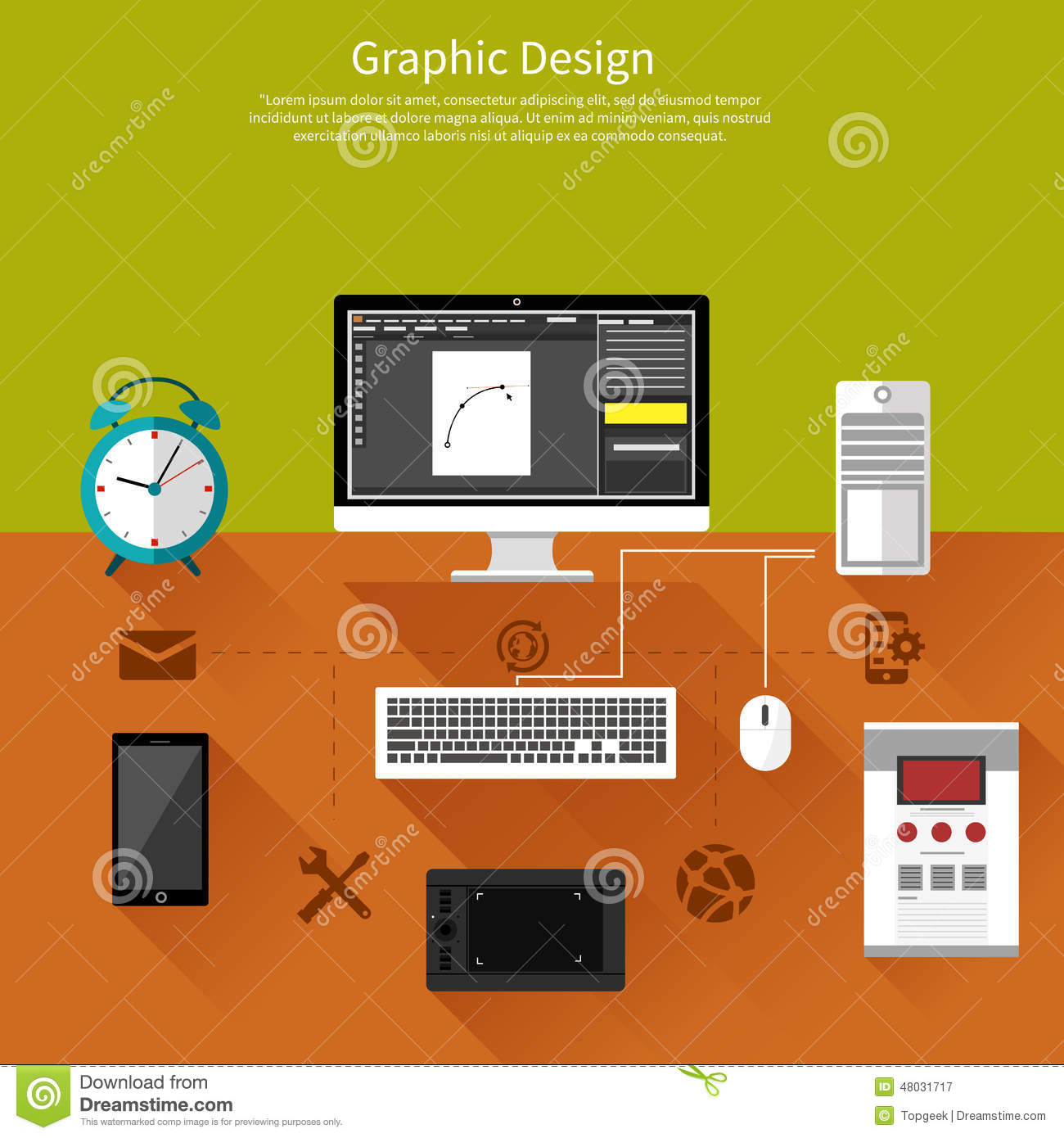 Concept for graphic design, designer tools and software in flat design ...
