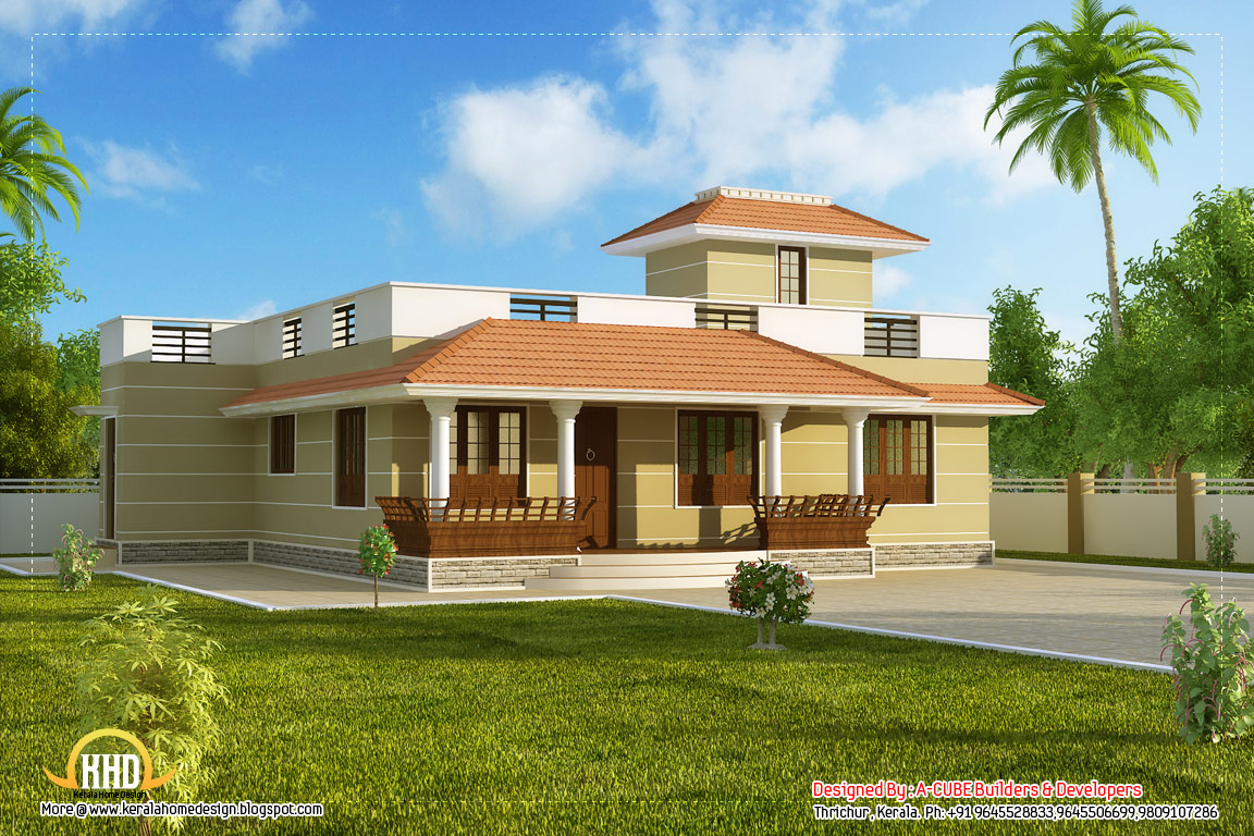 Single story Kerala model house without car porch 1395 Sq.Ft. (130 Sq ...