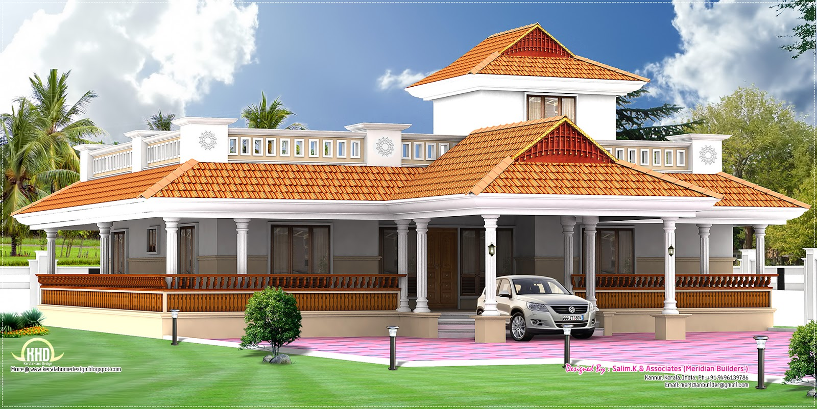 Kerala style vastu oriented 2 bedroom single storied residence | House ...