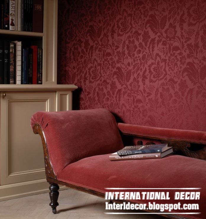 modern embossed wallpaper red for living room interior design
