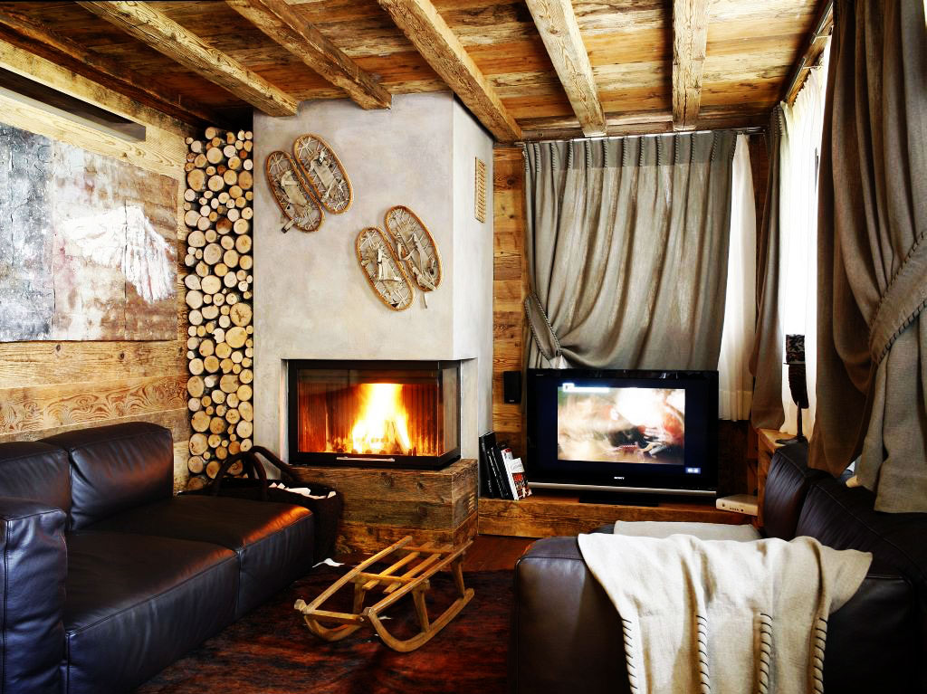 , Small Rustic House Living Room Interior Furniture Decorating Ideas ...