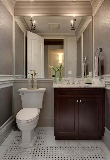 Transitional powder room design by chicago interior designer Randy ...